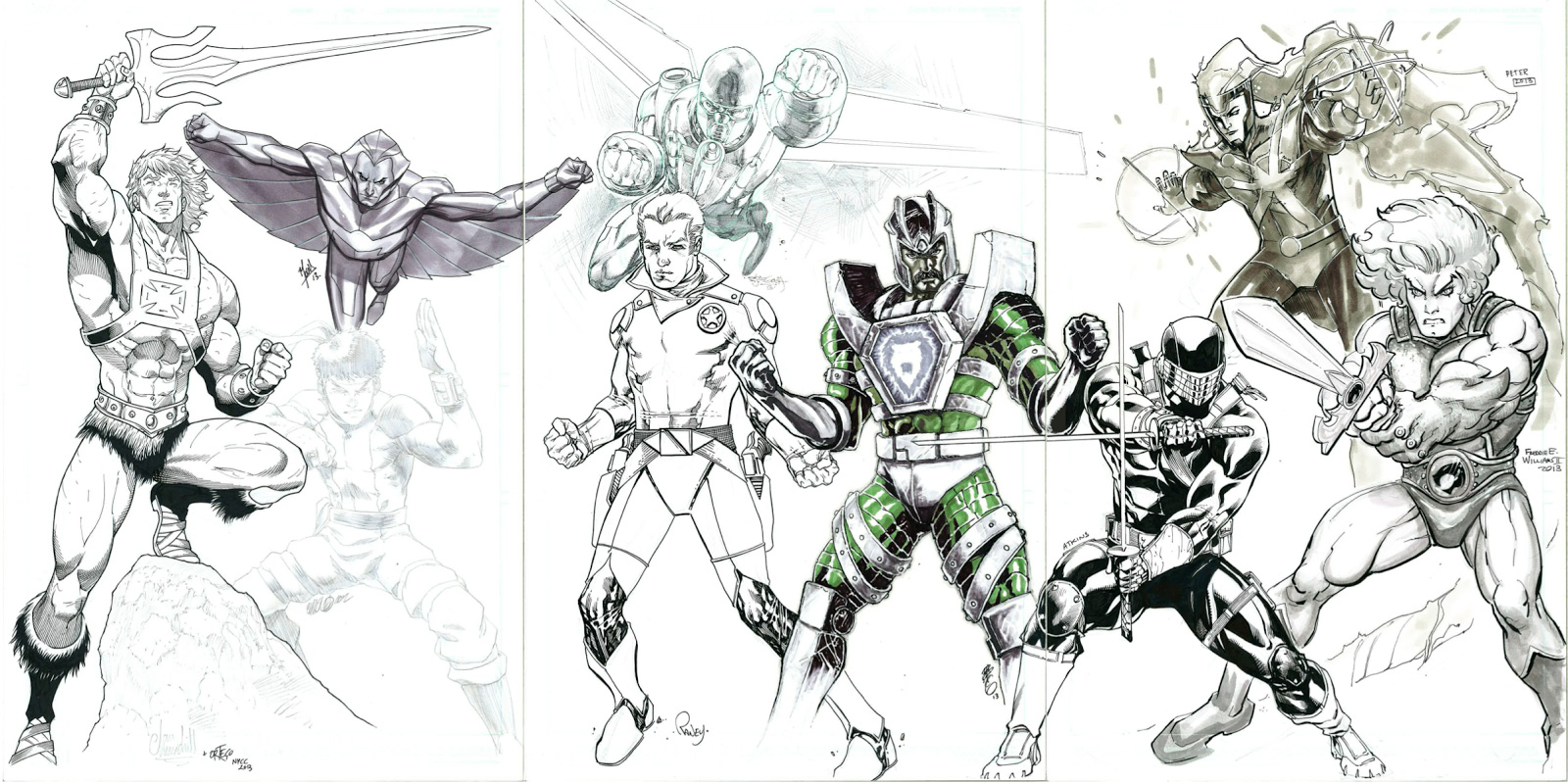 1980s Cartoon Jam Sketch with He-Man from Masters of the Unvierse, Snake Eyes from G.I. Joe, Lion-O from Thundercats, Galaxy Rangers, Silverhawks, Centurions, Visionaries, Firestorm from Super Friends, and Bionic Six