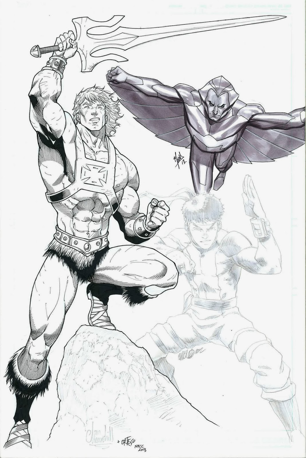 He-Man and the Masters of the Universe, Quicksilver from Silverhawks, and Karate-1 from Bionic Six
