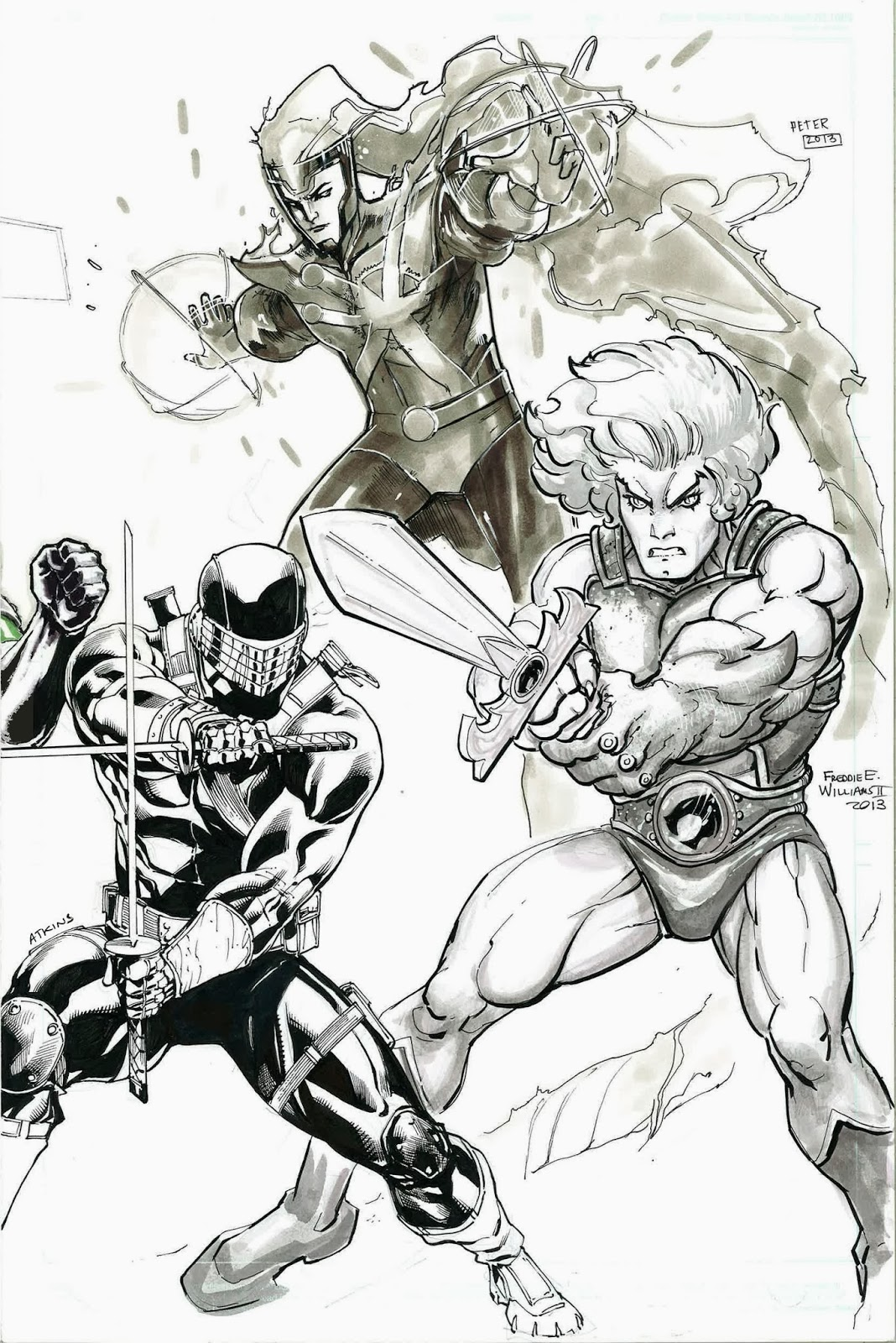 1980s Cartoon Jam Sketch - Snake Eyes by Robert Atkins, Firestorm by Peter Nguyen, and Lion-O by Freddie E Williams II