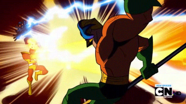 Firestorm versus Aquaman from the Batman: The Brave and the Bold episode,