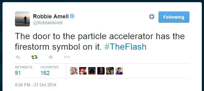 Robbie Amell reveals the Particle Accelerator door has a Firestorm symbol