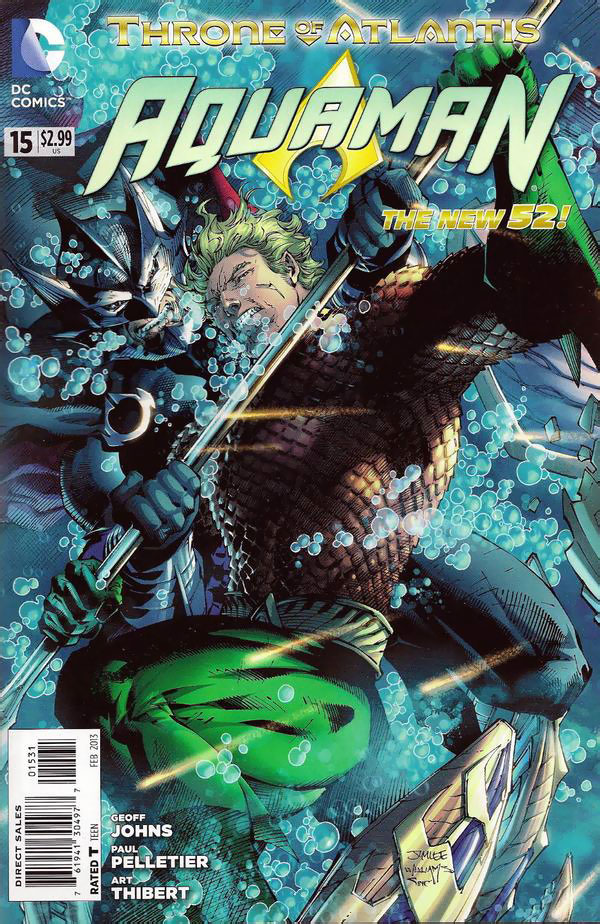 Aquaman #15 cover by Jim Lee, Scott Williams, and Alex Sinclair