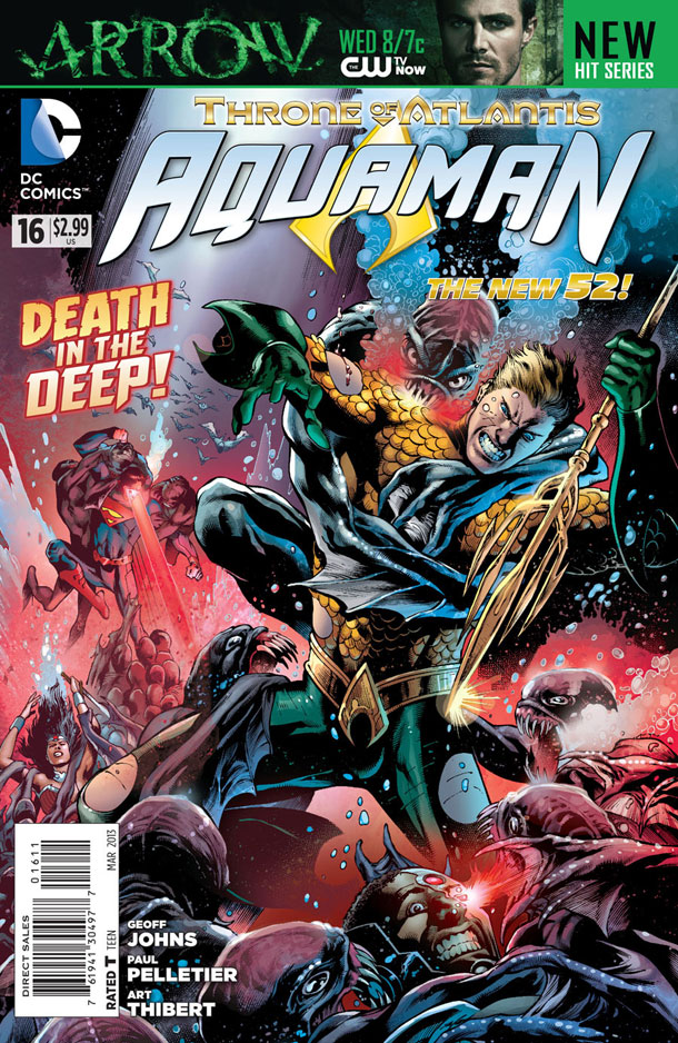 Aquaman #16 cover by Eddy Barrows and Eber Ferreira