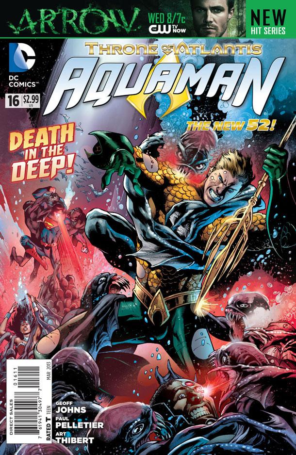 Aquaman #16 cover by Eddy Barrows and Eber Ferreira