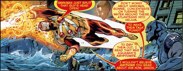 Firestorm in Aquaman #16 by Geoff Johns, Paul Pelletier, and Sean Parsons