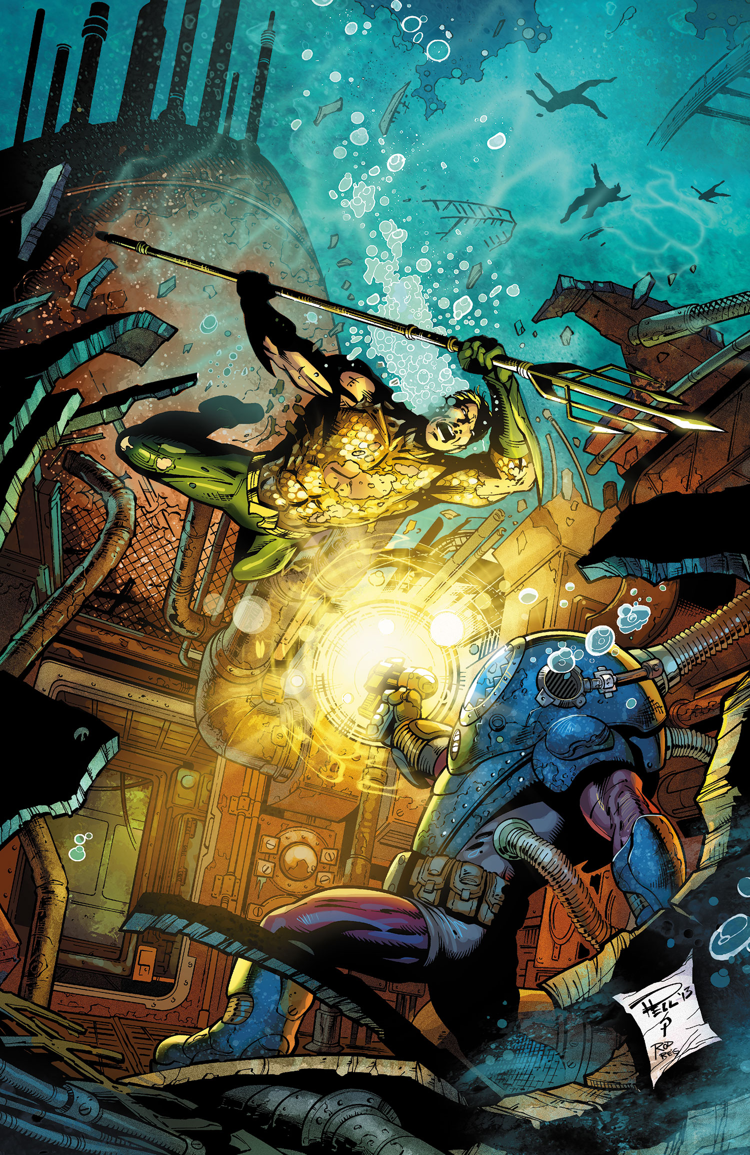 Aquaman #23 cover by Paul Pelletier, Sean Parsons, and Rod Reis