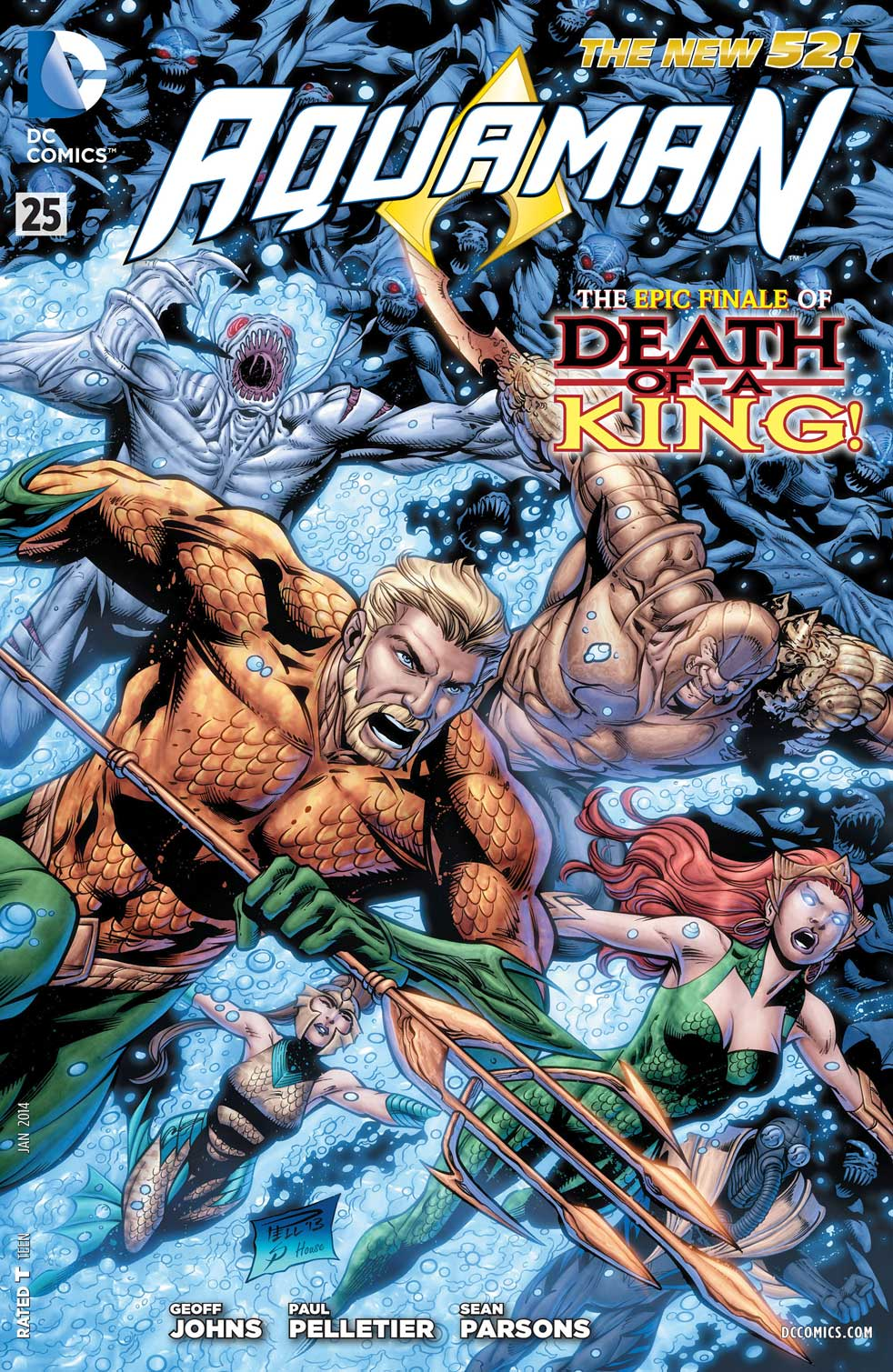 Aquaman #25 cover by Paul Pelletier and Sean Parsons