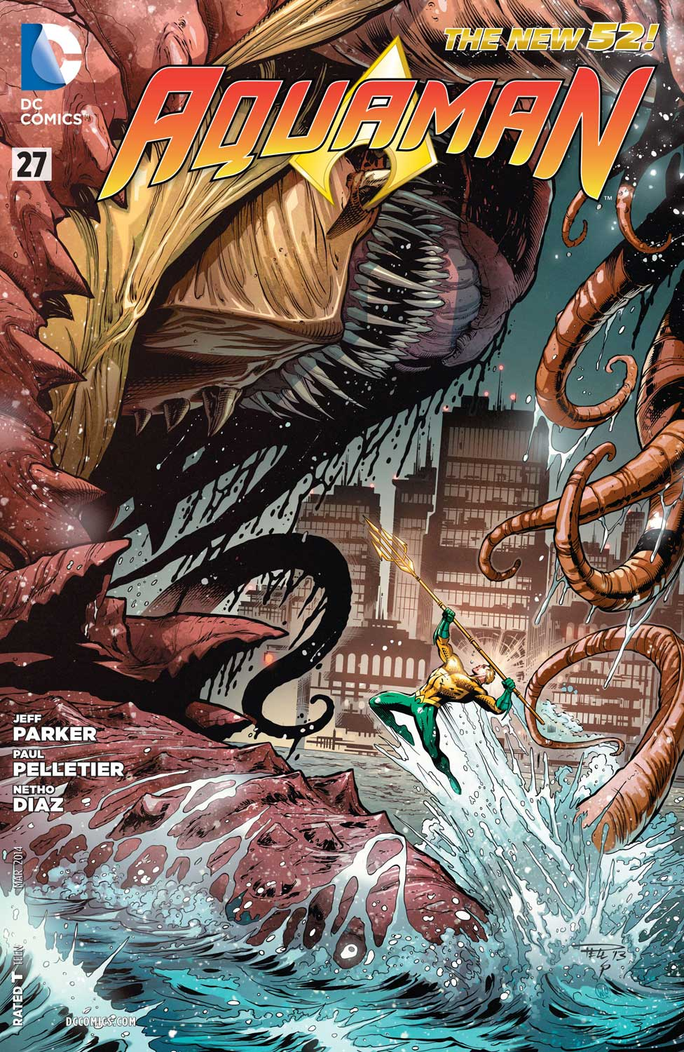 Aquaman #27 cover by Paul Pelletier and Sean Parsons