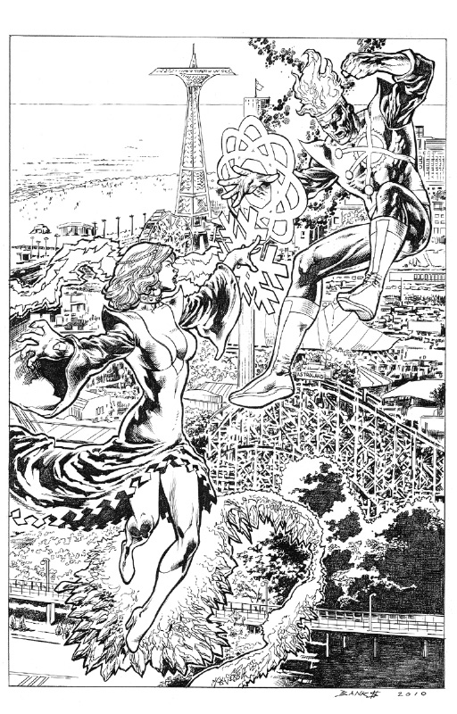Darryl Banks drawing of Firestorm and Killer Frost over Coney Island