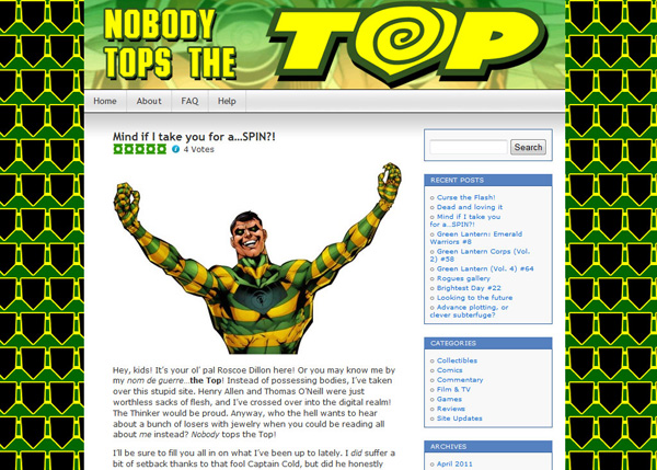 The Indigo Tribe, a Green Lantern blog, became Nobody Tops The Top
