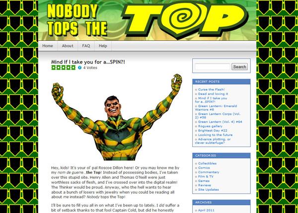 The Indigo Tribe, a Green Lantern blog, became Nobody Tops The Top