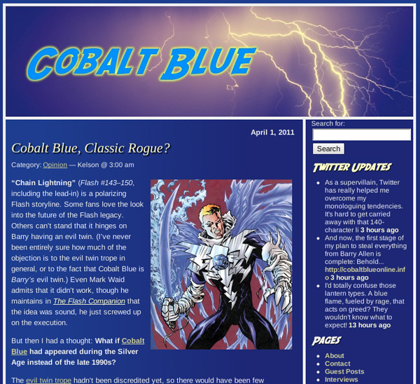 Speed Force, a Flash blog, became Cobalt Blue