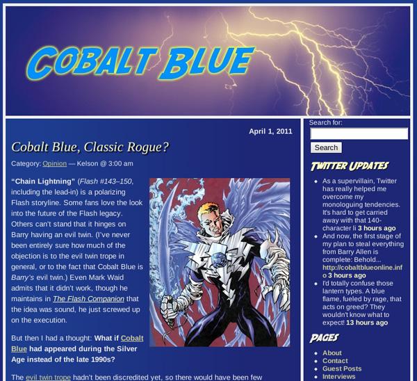 Speed Force, a Flash blog, became Cobalt Blue