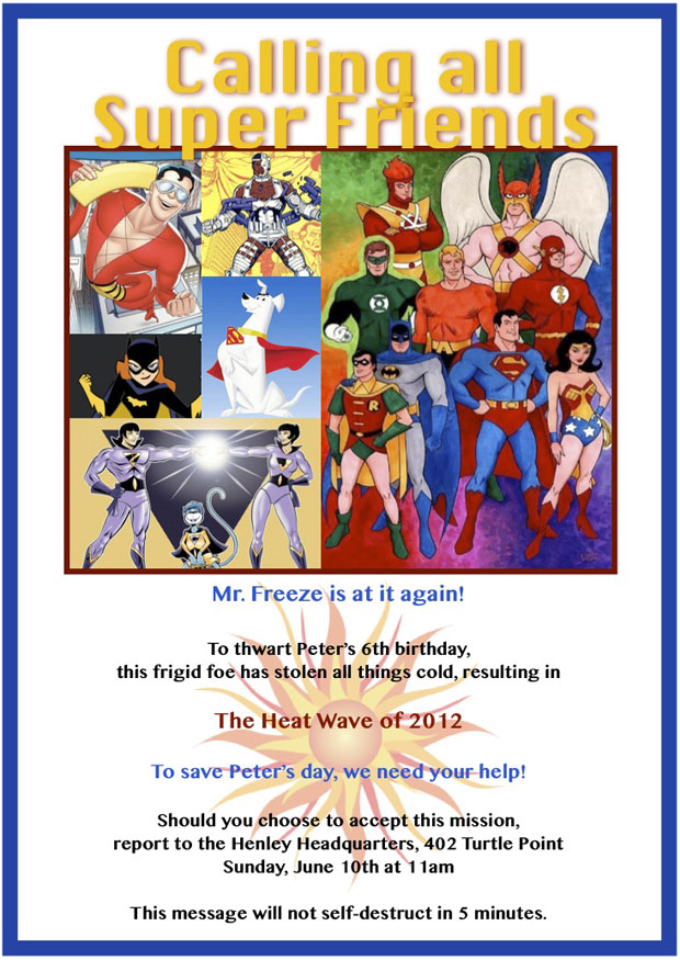 Superhero Birthday Party Invitations with the Super Friends: Firestorm, Superman, Batman and more