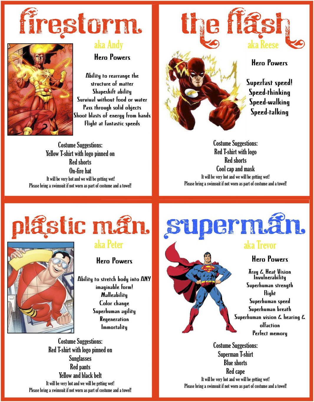 Superhero Birthday Party with Firestorm, Flash, Superman, and Plastic Man