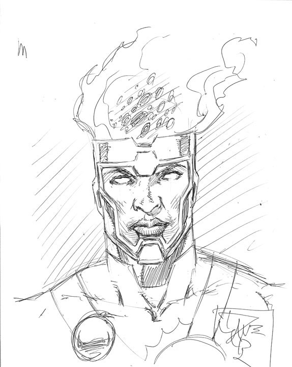 Dave Beaty's sketch of Jason Rusch as Firestorm