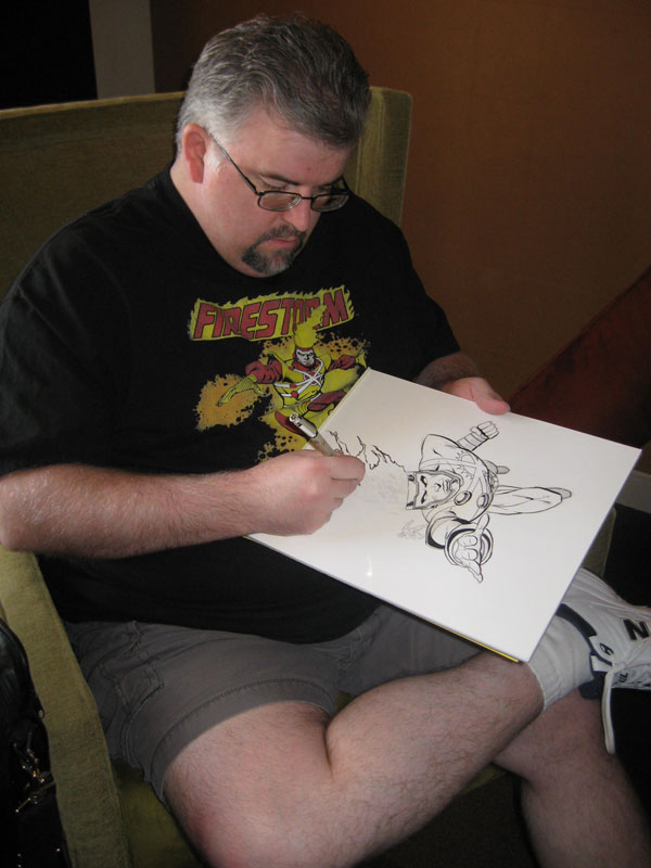Dave Beaty sketching Firestorm