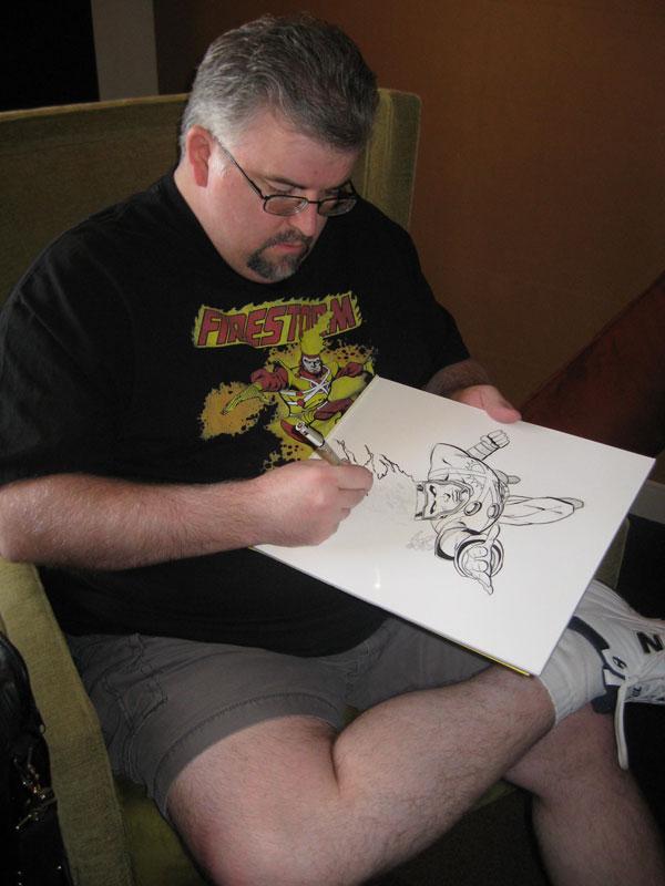 Dave Beaty sketching Firestorm