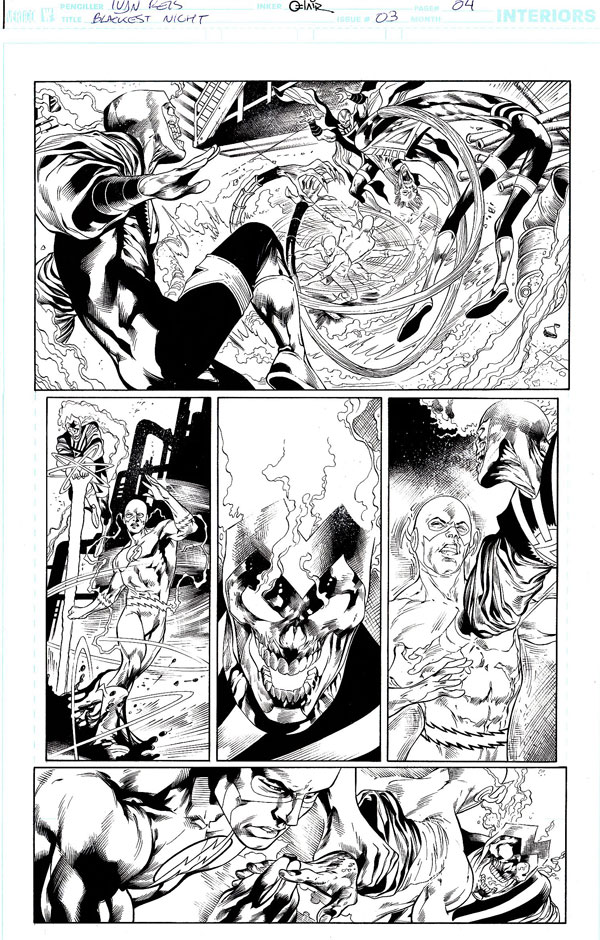 Blackest Night #3 page 4 by Ivan Reis featuring Black Lantern Firestorm