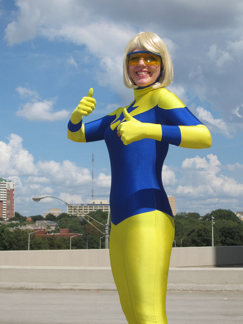 Booster Gold cosplayed by Shelley at DragonCon 2012
