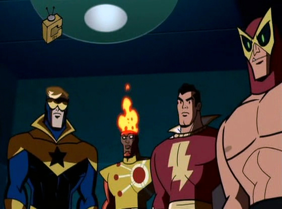 Booster Gold, Firestorm, Captain Marvel (Shazam), B'Wana Beast on Batman Brave & the Bold Siege of Starro