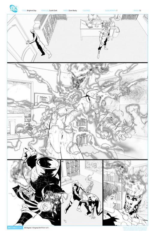 Brightest Day #7 page 13 original pencil and ink featuring White Lantern Firestorm