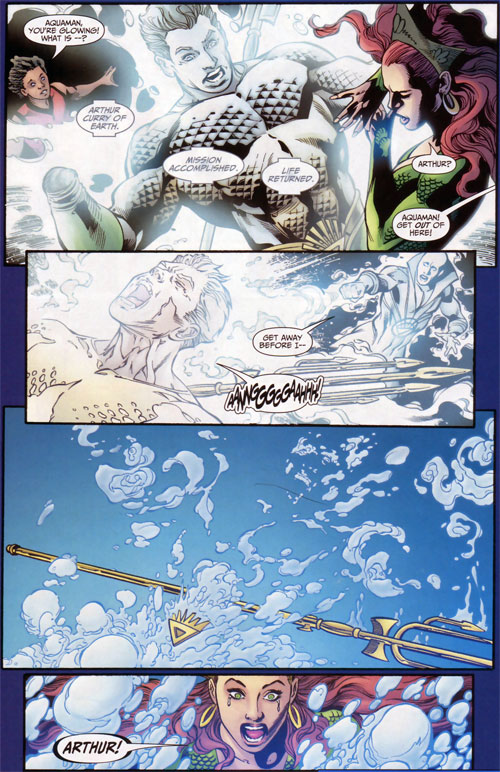 Brightest Day Aquaman attacked by White Lantern