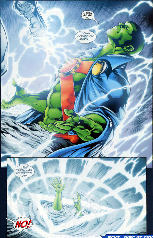 Brightest Day Martian Manhunter attacked by White Lantern