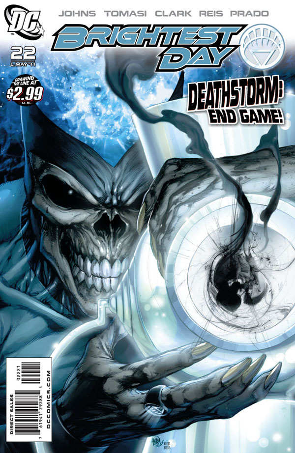 Brightest Day #22 cover featuring Black Lantern Firestorm Deathstorm by Ivan Reis