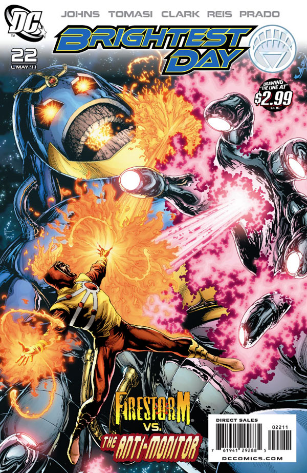 Brightest Day #22 cover featuring Firestorm and the Anti-Monitor by David Finch