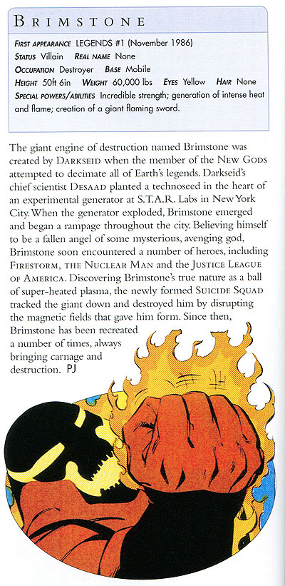 Brimstone in the DC Comics Encyclopedia, Updated and Expanded Edition