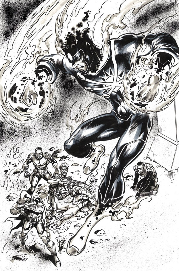 Yildiray Cinar pencil and ink splash page from Fury of Firestorm: The Nuclear Men #3