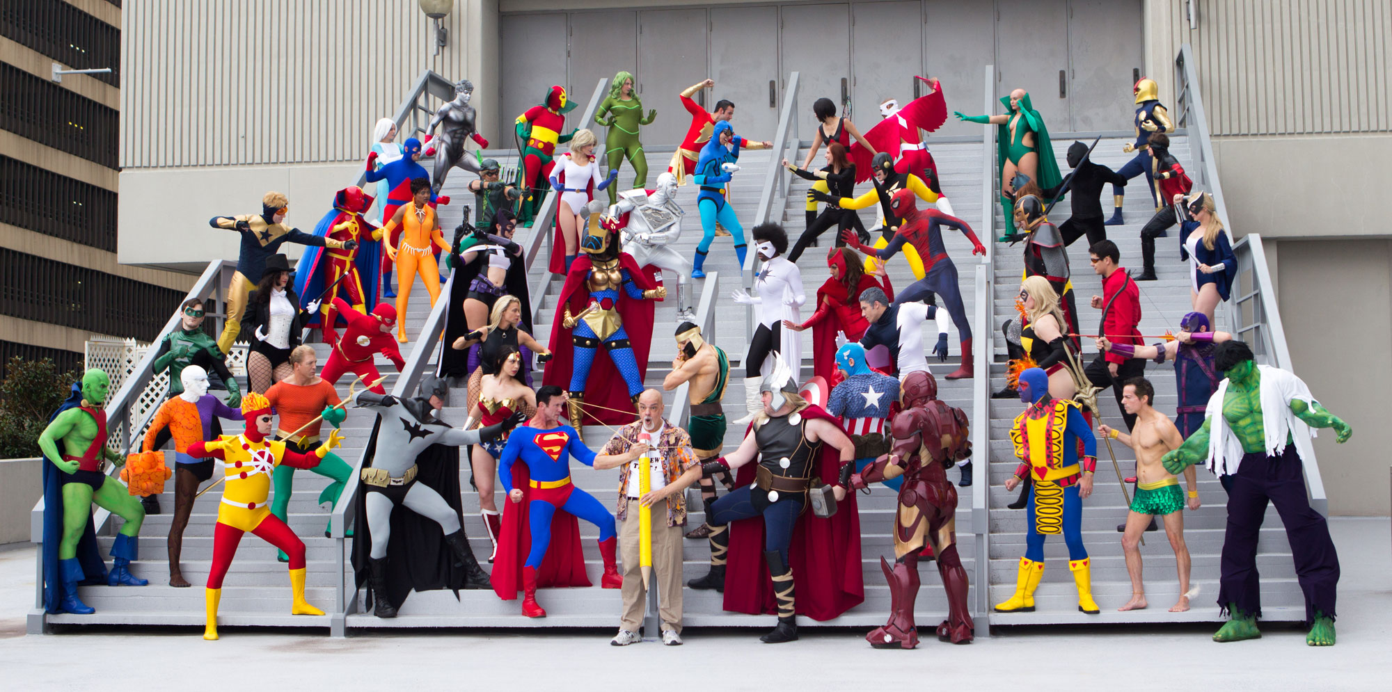 JLA vs Avengers Cosplay with George Perez at DragonCon