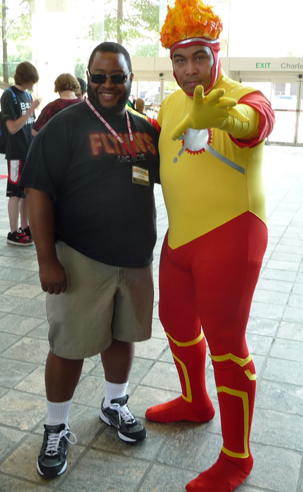 "Eric ""The Smoke"" Moran cosplay as Firestorm with Jamal Igle"