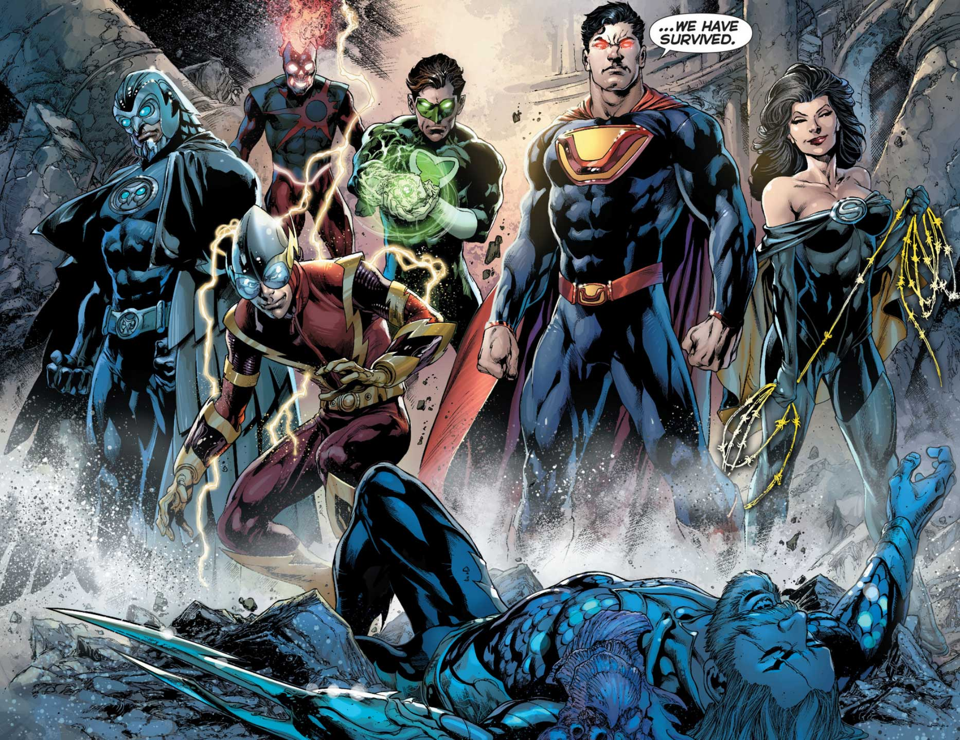 Crime Syndicate from Justice League #23 Trinity War part 6 by Ivan Reis, Joe Prado, and Rod Reis