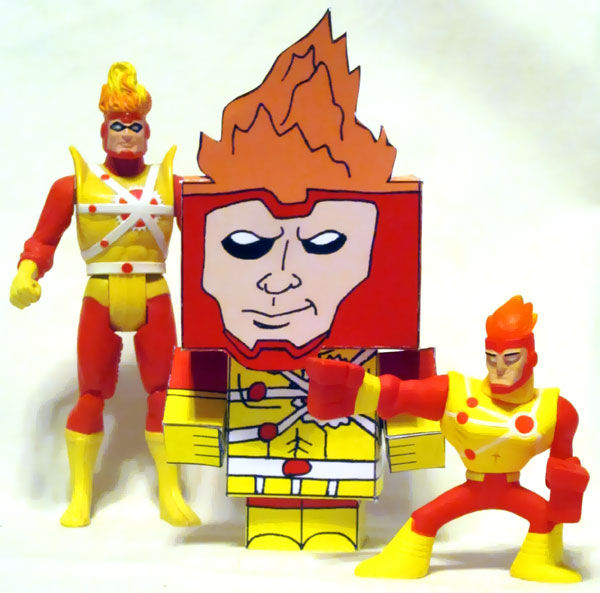 Firestorm Cubee by Joshua Wolf, Super Powers Firestorm, and Action League Firestorm