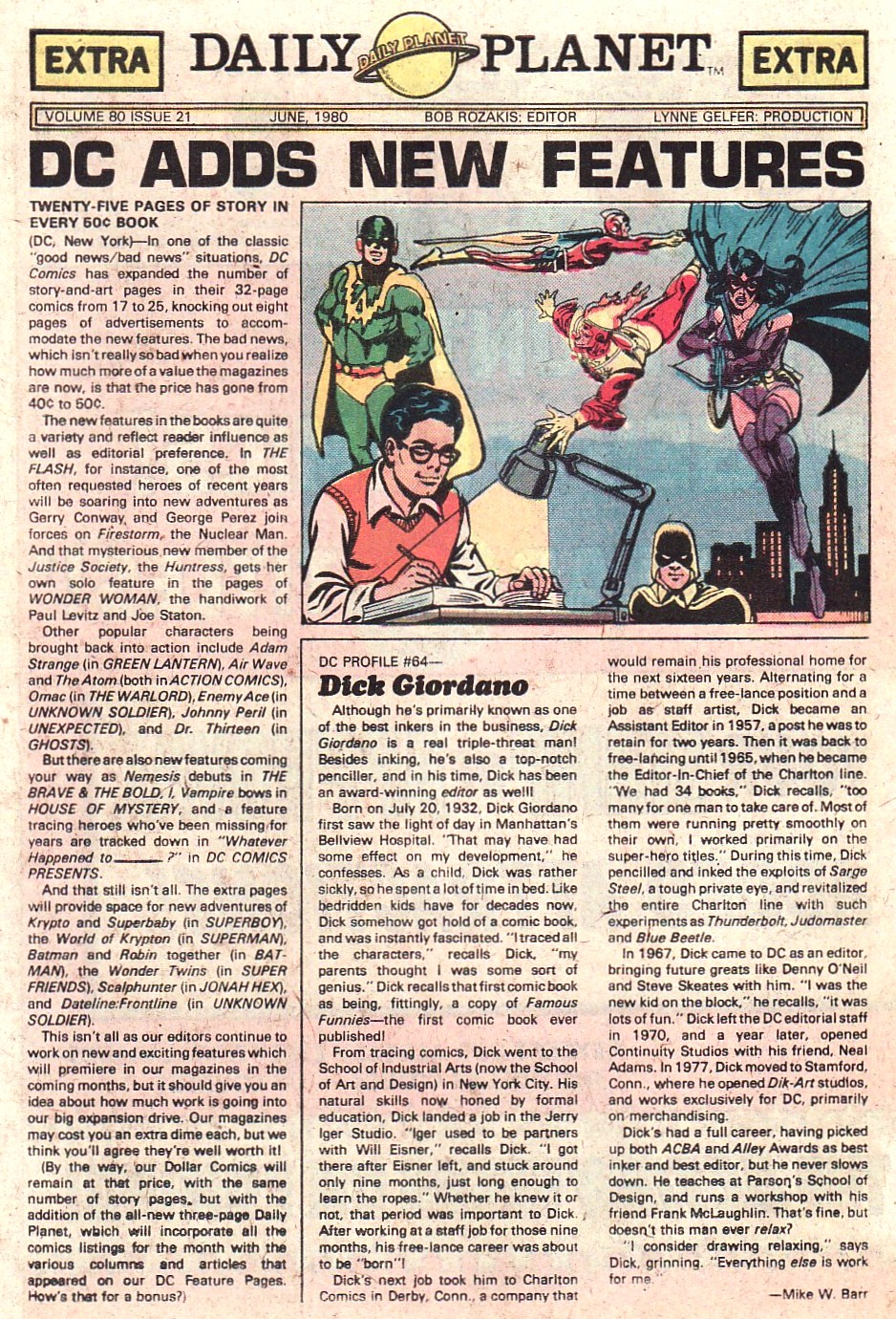 Daily Planet June 1980 featuring Firestorm