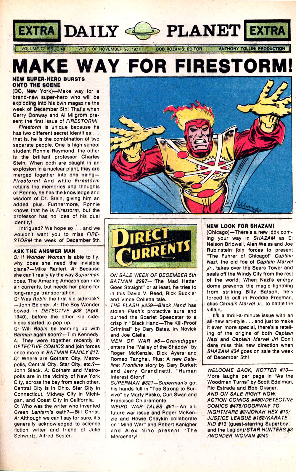 DC Comics Daily Planet featuring Firestorm from November 28, 1977