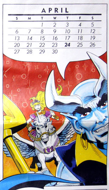 DC Comics Wall Calendar from 1986 featuring Blue Devil by Paris Cullins and Gary Martin