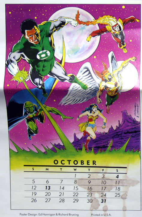 DC Comics Wall Calendar from 1986 featuring Firestorm by Luke McDonnell and Jerry Ordway