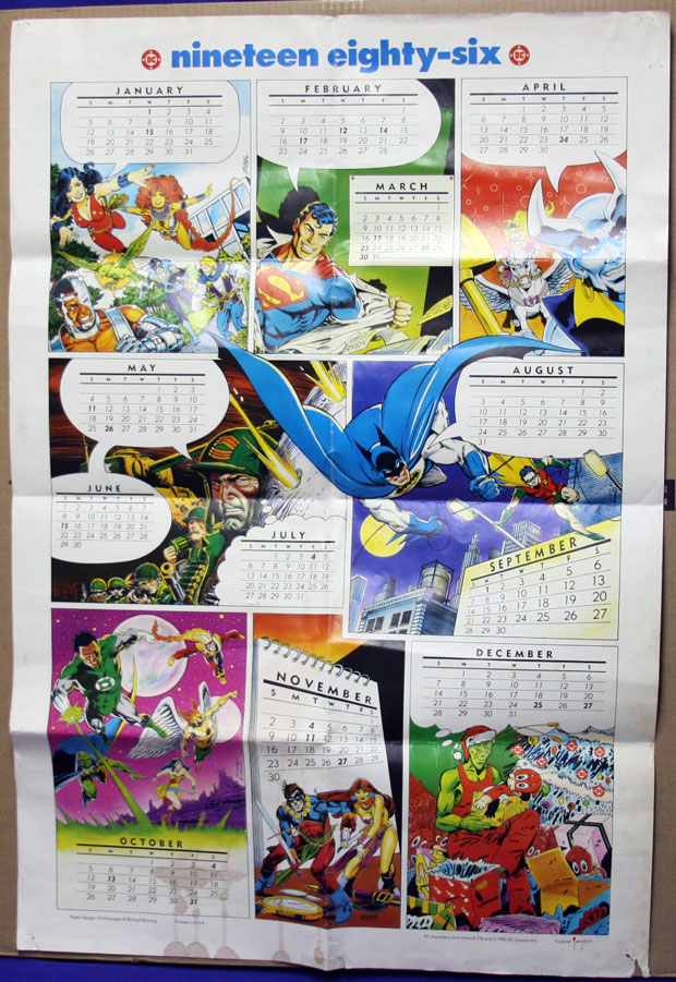 DC Comics Wall Calendar from 1986