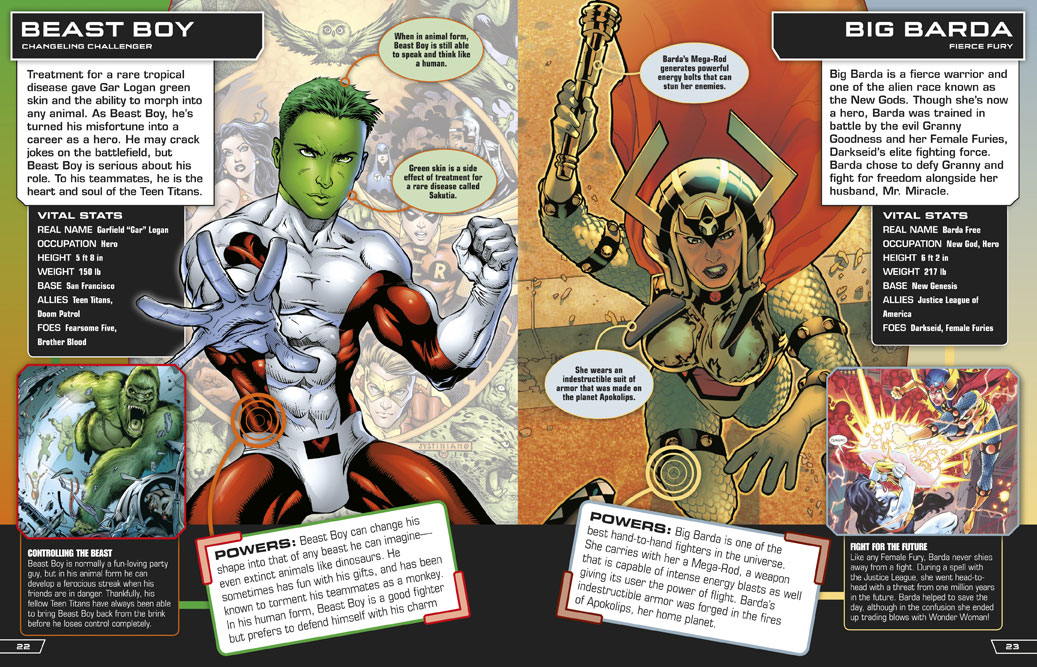 Beast Boy and Big Barda in DC Comics Ultimate Character Guide
