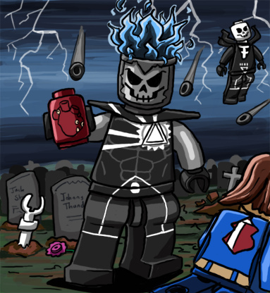 Black Lantern Firestorm/Deathstorm Lego doodle by Catanas