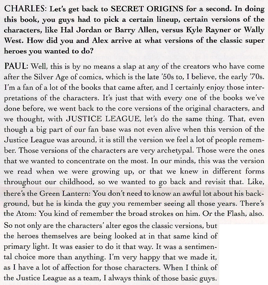 Interview with Paul Dini in JLA Secret Origins