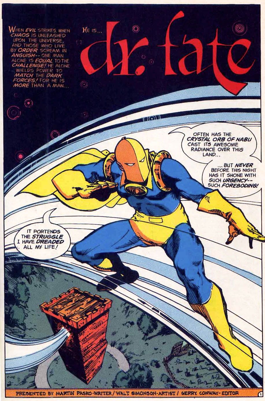 Dr Fate in 1st Issue Special by Marty Pasko & Walt Simonson on Fire & Water Podcast