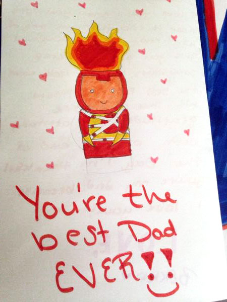 FIrestorm Father's Day card by Doug Zawisza's 13 year old