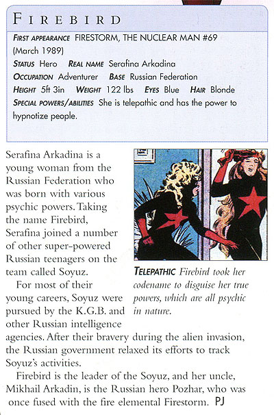 Firebird of Soyuz from Firestorm in the DC Comics Encyclopedia