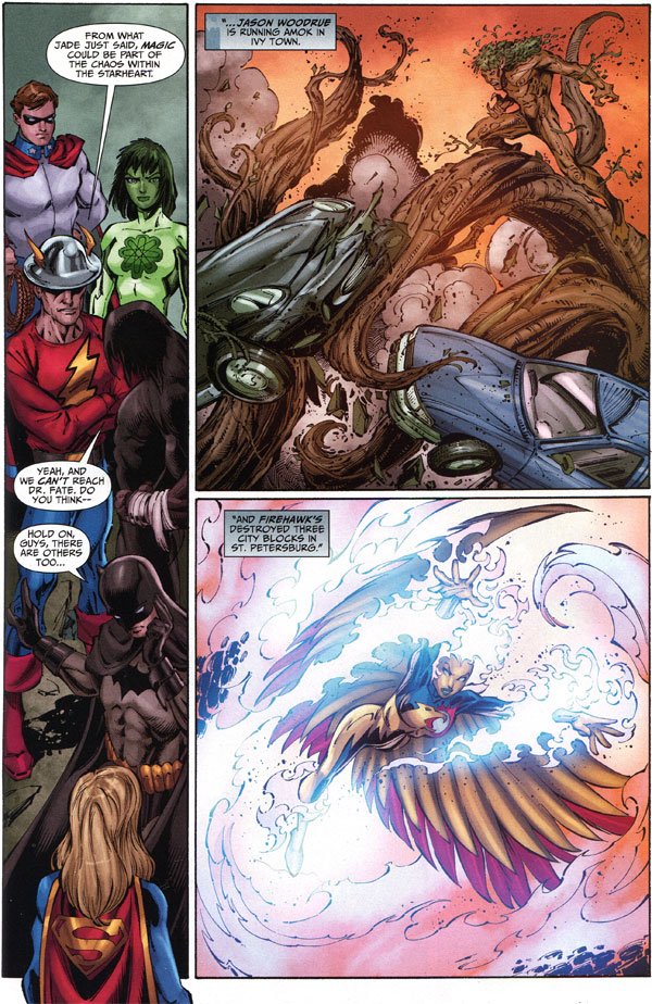 Justice League of America #45 featuring Firehawk in one panel
