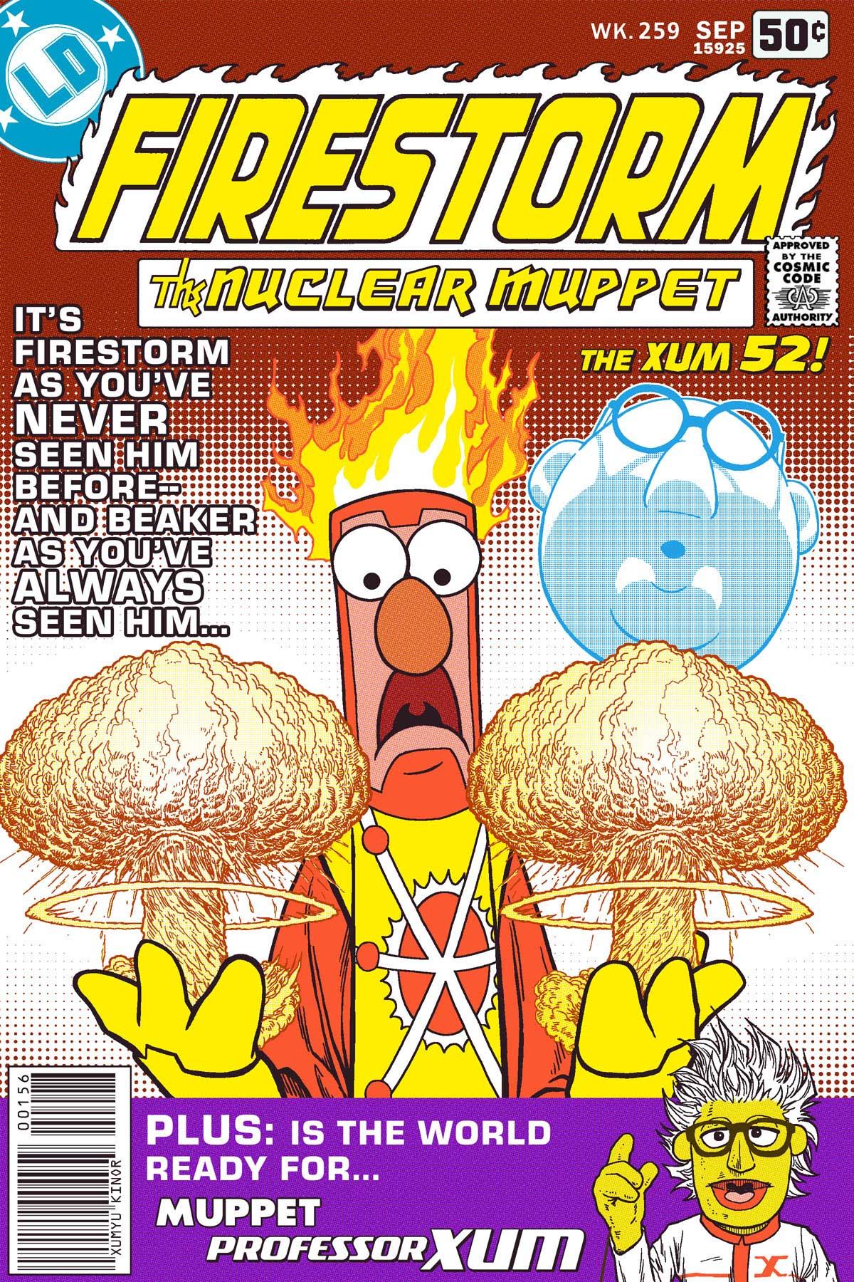 Beaker and Bunsen Honeydew as Firestorm the Nuclear Muppet by Xum Yukinori