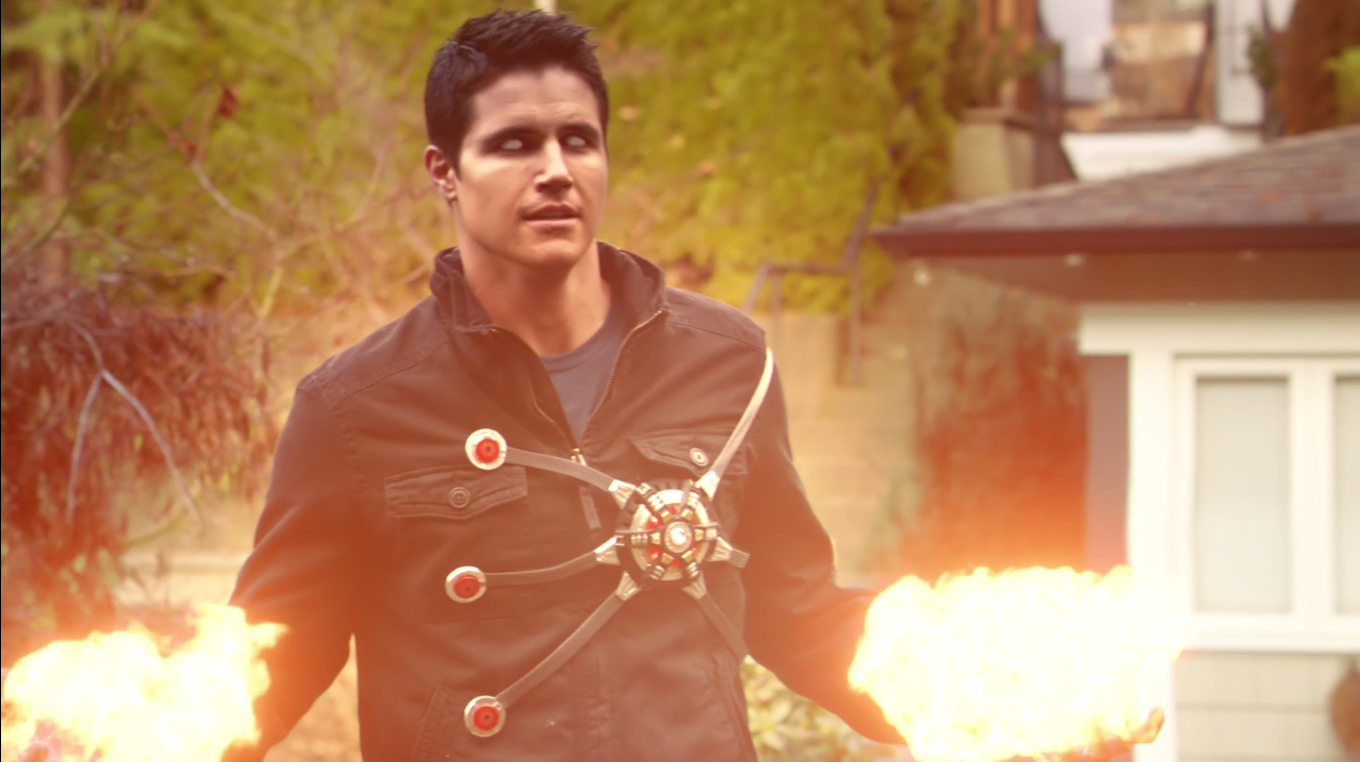 Robbie Amell and Victor Garber as Firestorm on The Flash
